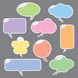 Speech and Thought Bubbles. Vector illustration of speech bubble and thought bubbles stickers Stock Image