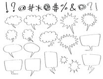 Speech and thought bubbles. Hand-drawn speech and thought bubbles, in comic style royalty free illustration