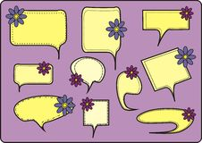 Speech And Thought Bubbles. With Flowers, vector illustration Stock Images