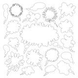 Speech and thought bubbles. Cartoon streak speech and thought bubbles isolated on white background Stock Photos