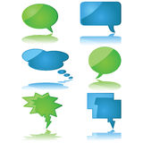 Speech and thought bubbles. Glossy illustration set of speech and thought bubbles stock illustration