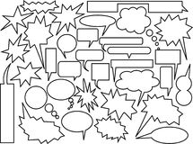 Speech and thought bubbles. Collection of black and white comic speech and thought bubbles royalty free illustration