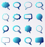 Speech and thought bubbles. Blue gradient speech and thought bubbles collection royalty free illustration