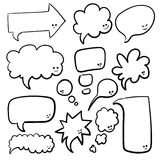 Speech or thought bubbles of different shapes and sizes. Hand drawn cartoon doodle vector illustration Stock Image