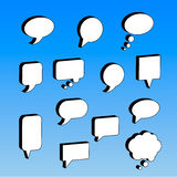 Speech and thought bubbles set. 3d isolated on blue background Stock Photo