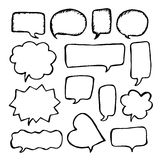 Speech or thought bubbles set. Cartoon doodle vector illustration Royalty Free Stock Photo