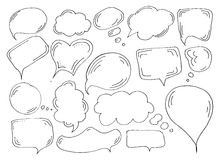 Speech or thought bubbles set. Cartoon doodle vector illustration Royalty Free Stock Photography