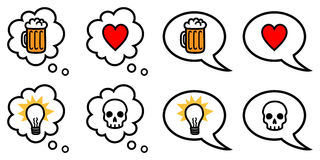 Speech and thought bubbles with symbols. Vector illustration of speech and thought bubbles with different icons representing love, hate, idea, drinking vector illustration