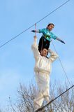 Speech by Uzbek tightrope walkers. Stock Images