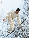 Speech by Uzbek tightrope walkers. Stock Photos