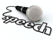 Speech Word Microphone Cord Public Speaking Presentation. Speech word in a microphone cord to illustrate public speaking or giving a presentation to an audience royalty free illustration