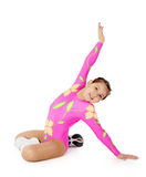 Speech by the young athlete aerobics Stock Images