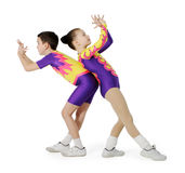 Speech by the young athlete aerobics. On the white background Stock Images