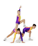Speech by the young athlete aerobics. On the white background Royalty Free Stock Photo