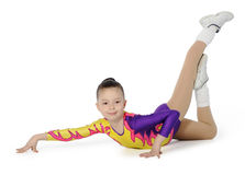 Speech by the young athlete aerobics. On the white background stock photography