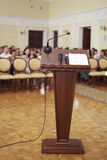 Speeches room with microphone Royalty Free Stock Image