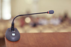Speeches room with microphone Stock Photos