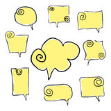 Speeches twisted hand draw yellow Stock Image
