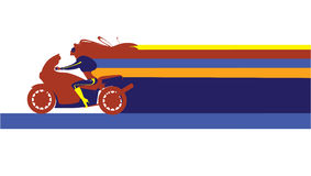 Speed. Vector illustration of girl on a motorcycle Stock Images
