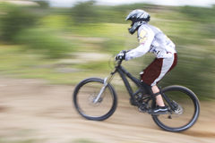 Speed. Mountain bike racer Royalty Free Stock Images
