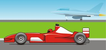 Speed. Formula 1 and supersonic airplane Royalty Free Stock Image