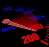 Speed. Close-up of full  car speedometer with  showing speed Royalty Free Stock Images