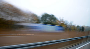 Speed. Movement on the highway - a view from the car Royalty Free Stock Images