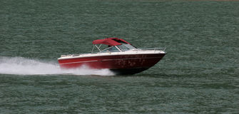 At Speed. Boat flying up the lake Royalty Free Stock Photo