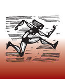 Speed. Hand drawn illustration of woman racing royalty free illustration