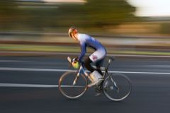 Speed. Cyclist at speed stock photography