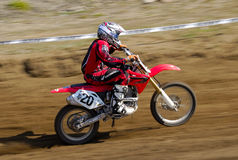 Speed. Very fast driving of motocross rider Marek Bielański in Leszno  March 30 2008 Royalty Free Stock Photo