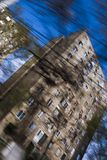 Speed Abstract. Speeding through city, abstract motion blur of block of flats Stock Photo