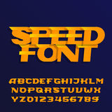Speed alphabet font. Effect italic type letters and numbers on a dark background. Stock Image