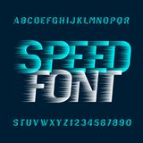Speed alphabet font. Fast wind effect oblique type letters and numbers. Royalty Free Stock Image