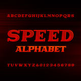 Speed alphabet font. Oblique dynamic letters and numbers. Speed alphabet font. Oblique dynamic letters and numbers on a dark background. Vector typefset for Stock Photography