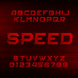 Speed alphabet font. Oblique dynamic red letters and numbers. vector illustration