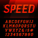 Speed alphabet vector font. Royalty Free Stock Photo