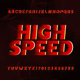 Speed alphabet vector font. Wind effect type letters and numbers on a abstract background. Royalty Free Stock Image
