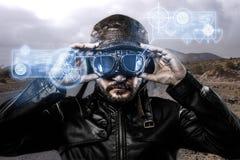 Speed blue light effects in googles biker Stock Photo
