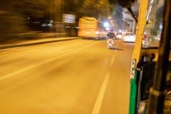 Speed blur road image showing motion through auto rickshaw stock photo