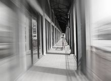 Speed blurred Hallway walkway pathway stock images