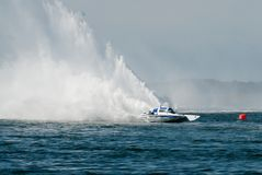 Speed Boat. Hydrofoil making a big rooster-tail at the speed boat race in Wildwood, New Jersey Royalty Free Stock Images