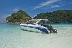 Speed boat. Motor boat leaving the lagoon Stock Images