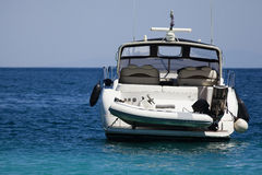 Speed boat. Luxury speed boat anchored on the sea Stock Photos