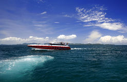 Speed Boat. A speed boat on the andaman sea off the east coast of Phuket stock photo