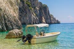 Speed boat on beach Marathonisi Island -Zakynthos Greece stock photos