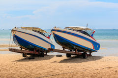 Speed boat on beach Stock Images