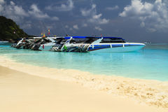 Speed boat in the beach. For travel at tachai island Royalty Free Stock Photography