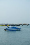 Speed boat. Blue speed boat float at Pattaya pier Royalty Free Stock Photo