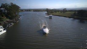 Speed boat of coomera riverr hope island. Luxury boat of Coomera river hope island , wide water to ocean stock photo